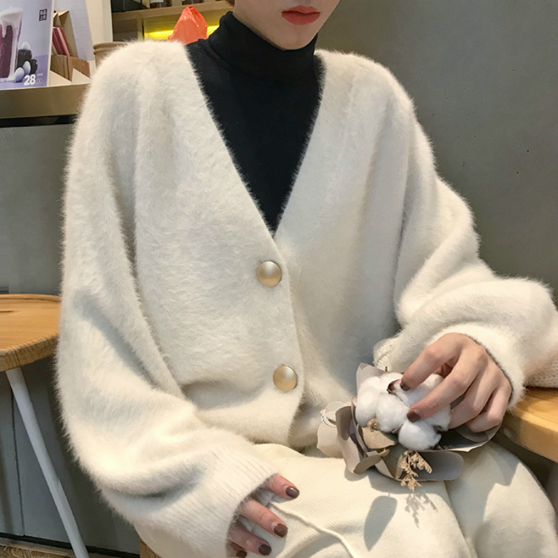Women Autumn Winter Mink Velvet White Sweater Coat Long Sleeve Cozy Knitted Cardigan Warm Outerwear Loose