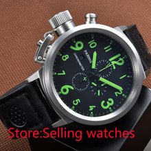 50mm Green Numbers Big Face chronograph Lefty Crown Men's Date Luminous Watch