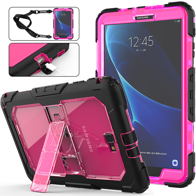 Case For Samsung Galaxy Tab A A6 10.1 2016 T580 T585 SM T585 SM T510 Heavy Duty Shockproof Kids Stand Case Cover Shoulder Strap