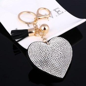 3D Bling Bling Rhinestone Heart Shape Keychain Leather Tassel Gold Key Holder 1