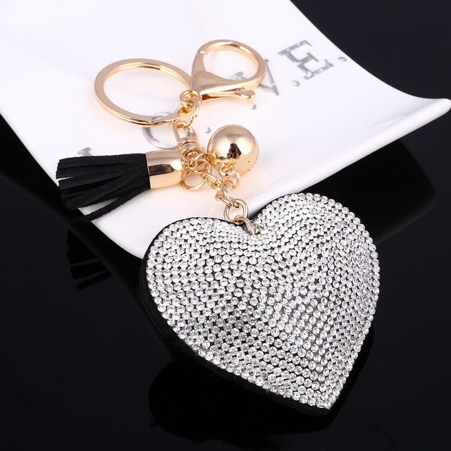 ZOSH Heart Keychain Leather Tassel Key Holder Metal Crystal Key Chain Keyring Charm Bag Auto Pendant Gift Wholesale Price 1