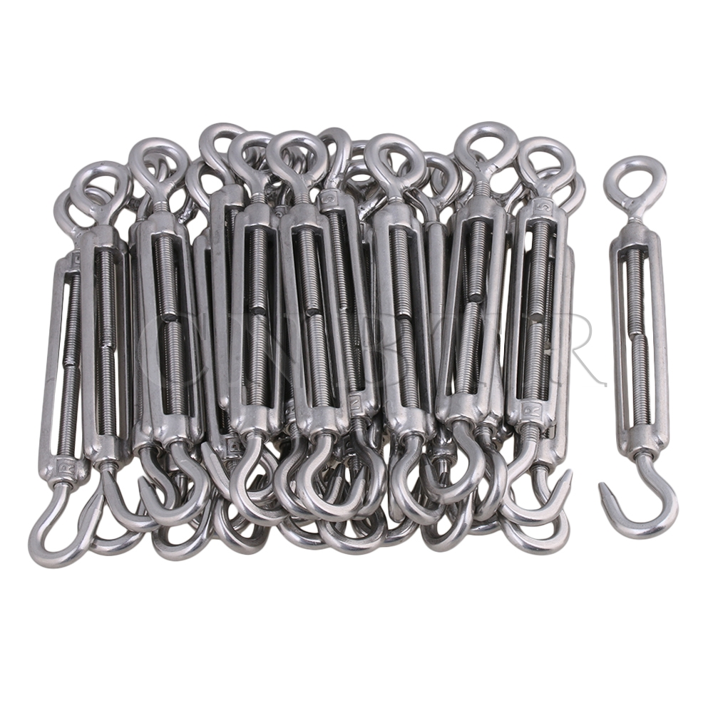CNBTR 304 Stainless Steel M5 Hook & Eye Turnbuckle Wire Rope Tension Pack Of 25