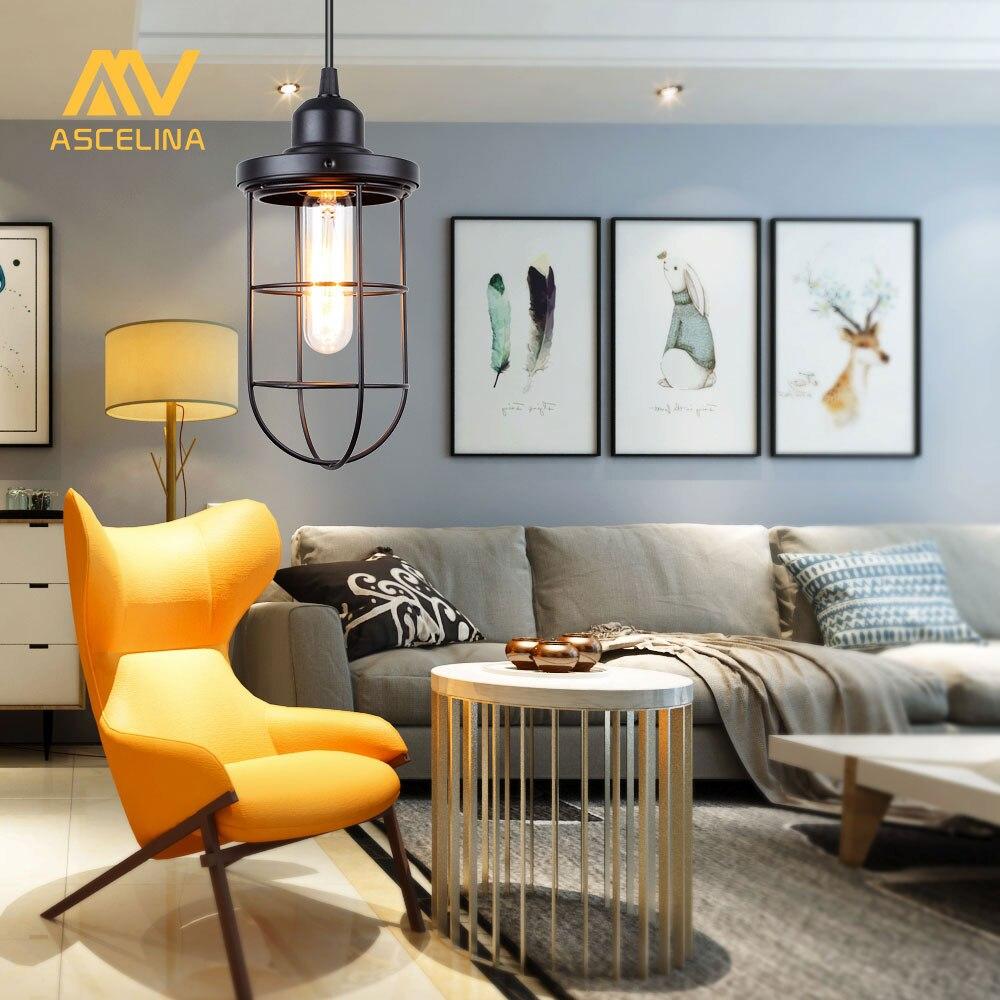 Nordic Vintage Anhänger Licht Loft Led Lampe Industriellen Stil Hause  Beleuchtung Wohnzimmer Eisen Suspension Leuchten E27 Lampenschirm