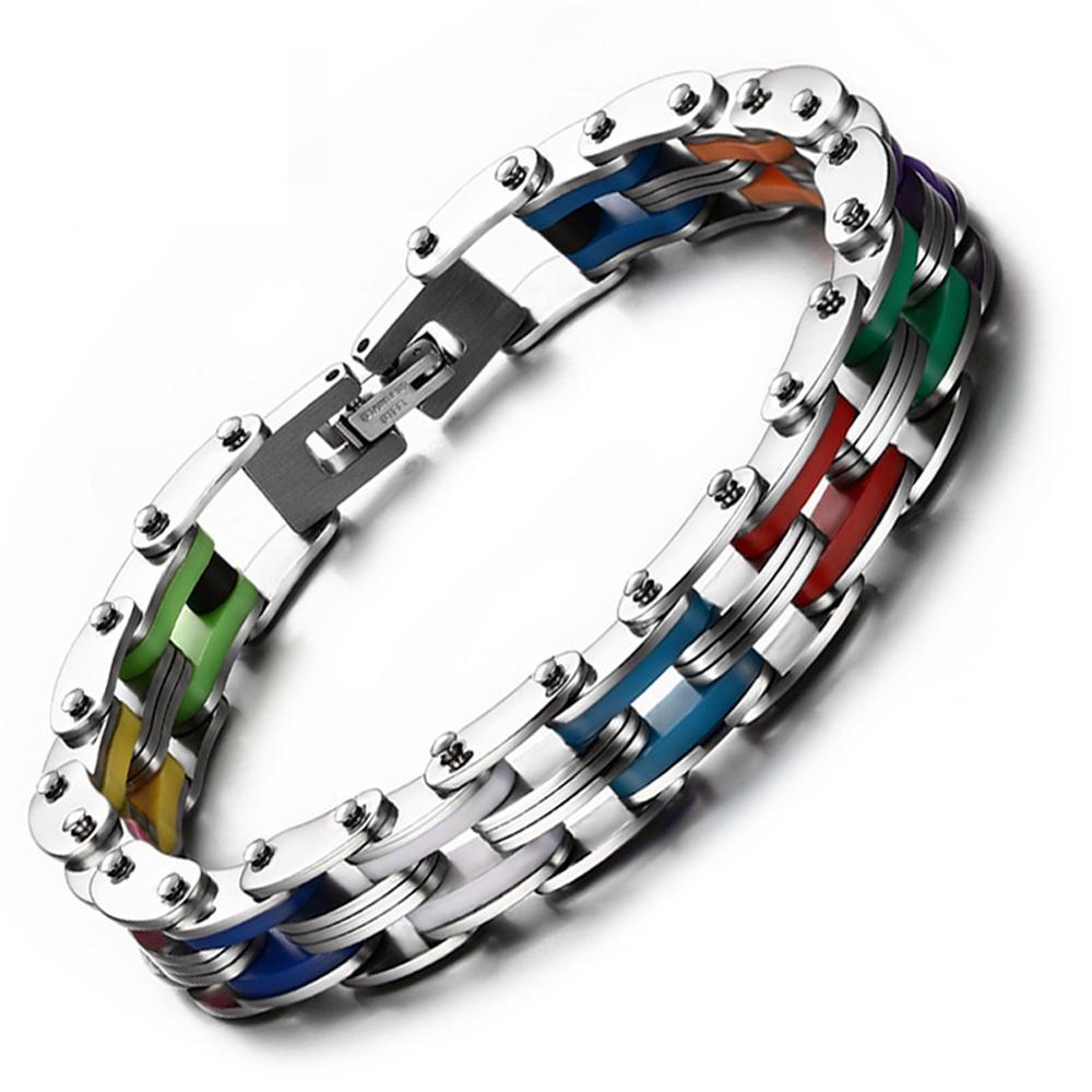 Heyrock Regenbogen Farbe Silikon Gummi Edelstahl Armband 20 CM Unisex Gliederkette Armreifen