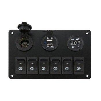 6 Gang LED Car Boat Rocker Switch Panel Dual USB per Presa Accendisigari Voltmetro Auto Auto LED per Barche Interruttore Sul Pannello