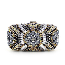 2016 Limited New Women Bag Handbag Handmade Floral Diamonds Beaded Evening Bags Day Clutches Lady Wedding Party Purses Handbags