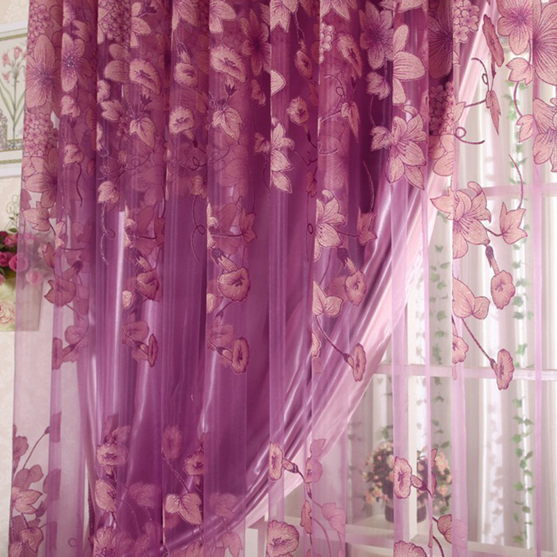 Floral Voile Curtain Window Valance European Lace Curtains Girls ...