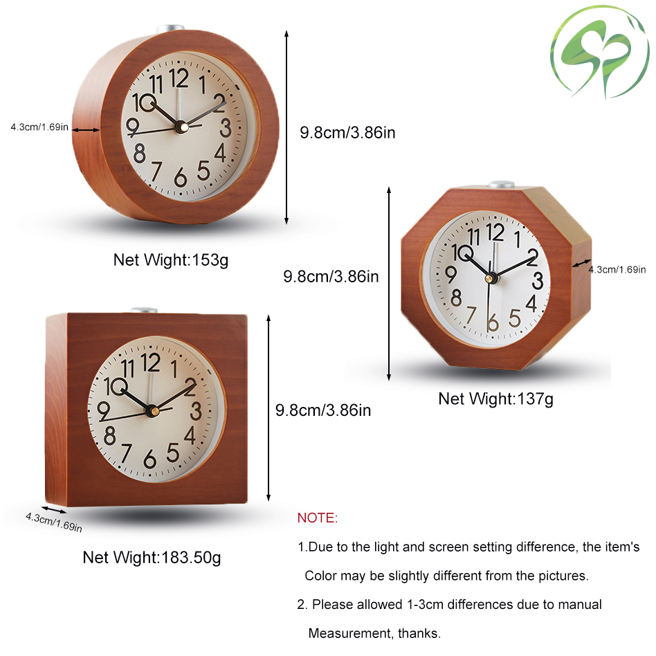 Wooden Alarm Clock with Night Light Wood Classic Round Silence Table Clocks Snooze Bedside Kids Home Decor in Alarm Clocks from Home Garden