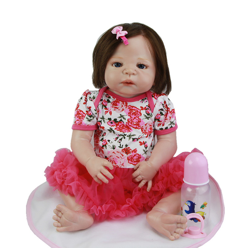 Blue Eyes Reborn Babies 23 Inch Realistic Girl Dolls With Rooted Human Hair Full Silicone VInyl Doll Kids Birthday Xmas Gift pink romper 20 inch reborn babies girl lifelike silicone newborn dolls realistic doll toy with blue eyes kids birthday xmas gift