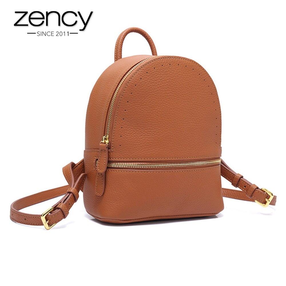 627419c73a55 Zency маленький женский рюкзак 100% пояса из натуральной кожи модные милые  дорожные сумки Высокое качество