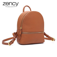 Zency Small Women Backpack 100% Genuine Leather Fashion Cute Travel Bags High Quality Girl's Schoolbag Black Daily Knapsack