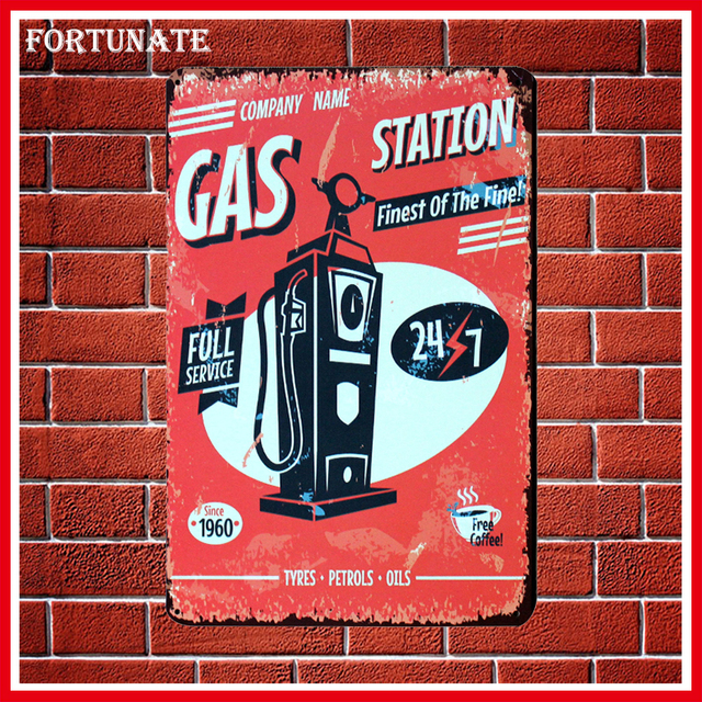 Hot Since 1960 GAS Station Vintage Metal Signs Home Decor Vintage Tin Signs  Pub Vintage Decorative