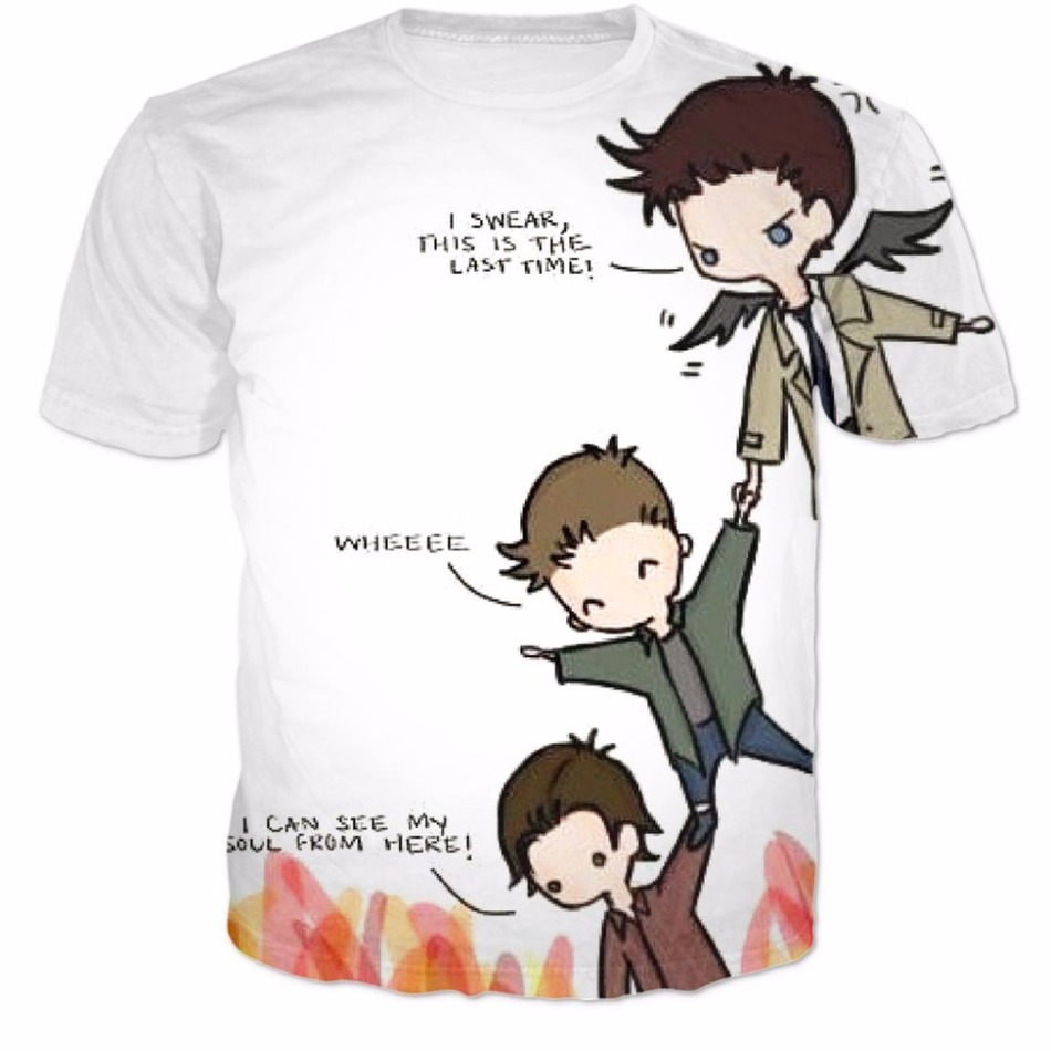 Supernatural Cas Dean And Sam T-Shirt Women Men Fashion 3D T Shirt Summer Style Fashion Harajuku Top Tees Shirt Clothing R2852