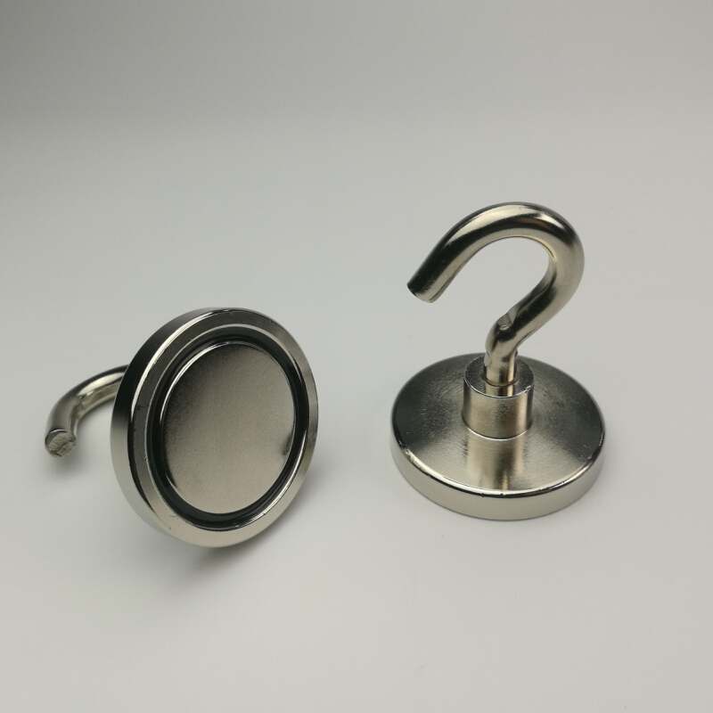2pcs D48mm Super Powerful Neodymium Magnet pot with removable hook M6 Heavy-duty organizing Storage and mounting magnetic Hook powerfull pot magnet magnet super heavy magnetic hook holder neodymium rare earth dia 10mm hot sale 2pc