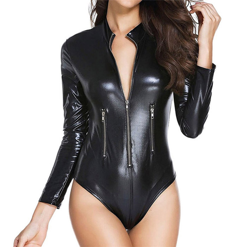 Wet-look Catsuit Gothic Bodysuit 4