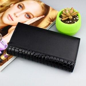 Image 5 - גבוהה באיכות 3 לקפל נשים ארנק ארוך עור אמיתי נשים ארנק 2020 ארנק נשי מצמד גבירותיי אמיתיים וו עור ארנקים