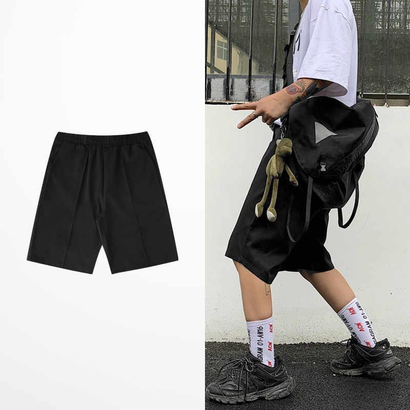 Nowe modne spodenki garniturowe dla mężczyzn i kobiet odzież na co dzień czarny szary kolor pięciopunktowe letnie cienkie krótkie spodnie męskie