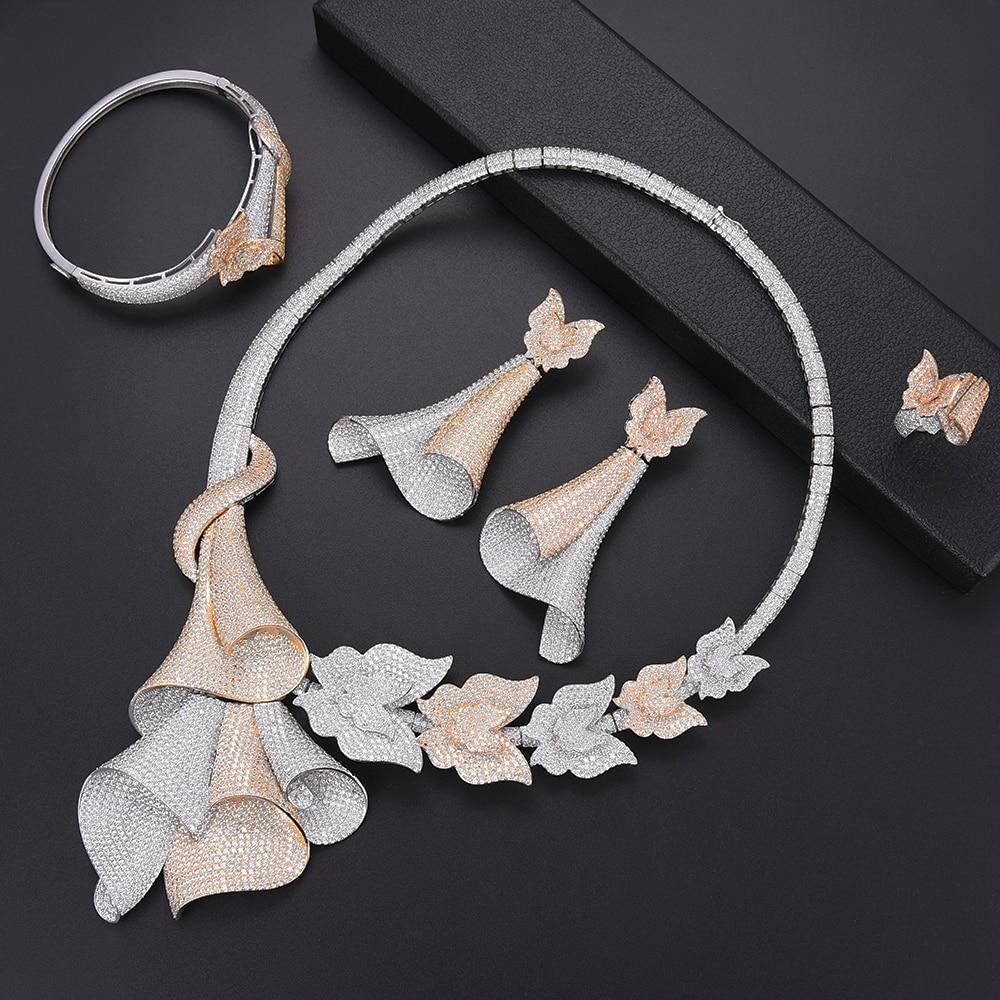 missvikki Fashion Brand Handmade 4 PCS Women Wedding Jewelry Sets with Full Crystal Bangle Earrings Necklace Ring Jewellery