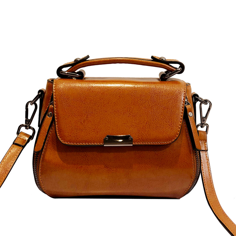 Oil Wax Cowhide Women Bag Cross Body Shoulder Handbag Fashion Genuine Leather High Quality Tote Messenger Vintage Top Handle Bag-in Shoulder Bags from Luggage & Bags    1