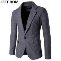 LEFT ROM Brand Fashion Casual Leisure Suit Jacket Coat Royal Blue Men Blazer Slim Fit Designs