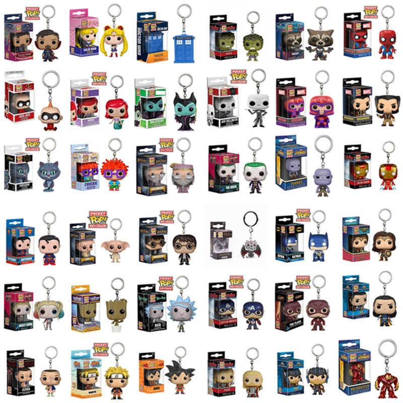 FUNKO POP New Pocket Pop Keychain Official Super Hero Anime Characters Action Figure Collectible Model Toys For Gifts With Box image