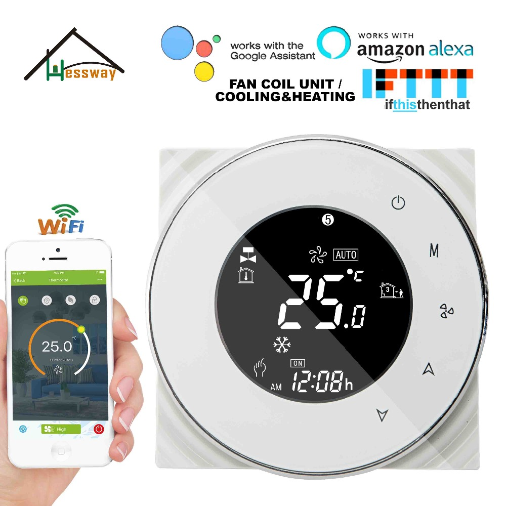 US $55 8 28% OFF|HESSWAY Air Conditioning Type fan coil unit thermostat  WIFI APP for 2pipe 4pipe google home-in Smart Temperature Control System  from