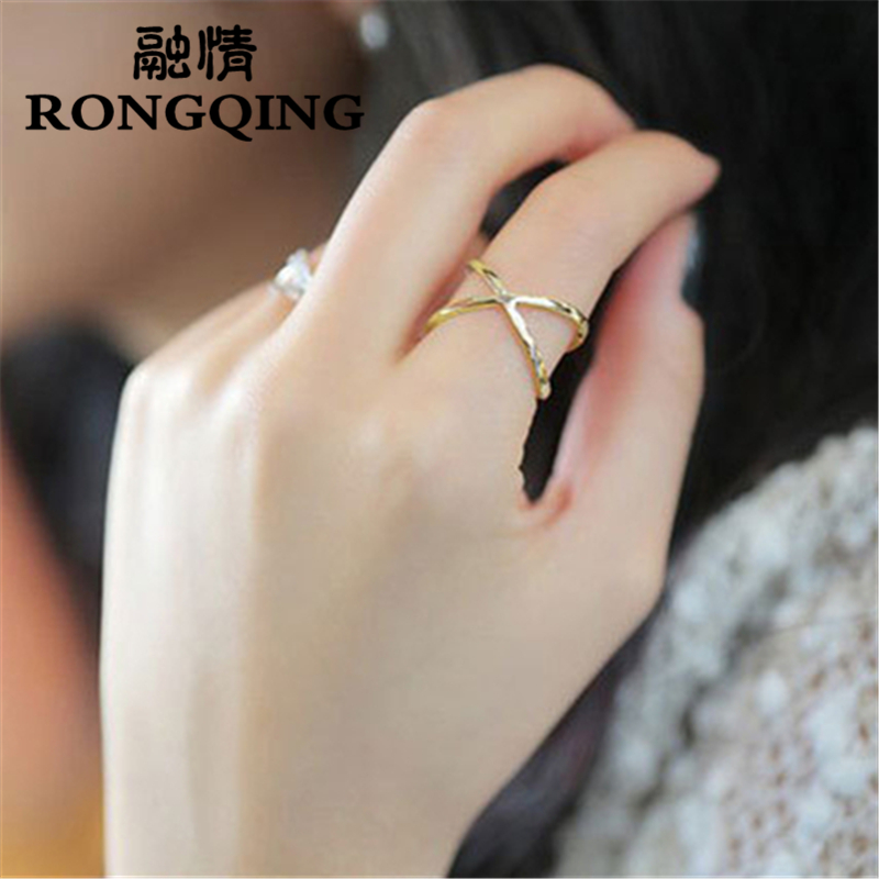 RONGQING 1pcs New Arrival Female Full Cross Shaped Finger Ring Tiny Paved Fashion Jewelry Oval Hollow Rings For Women
