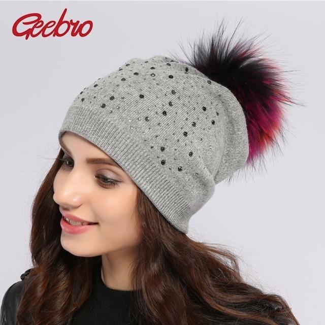 51943ef954e Geebro Brand Women s Pompons Hats Winter Warm Knitting Raccoon Fur Pom Pom  Beanie Hat for Women Real Fur Pompom Beanies Skullies