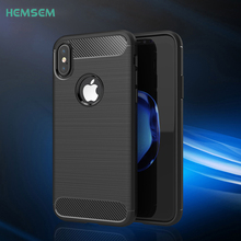 For Apple iPhone 8 Luxury Shockproof Phone Case Synthetic Carbon Fiber Silicone Soft TPU Drawing Brushed Texture Cover Shell