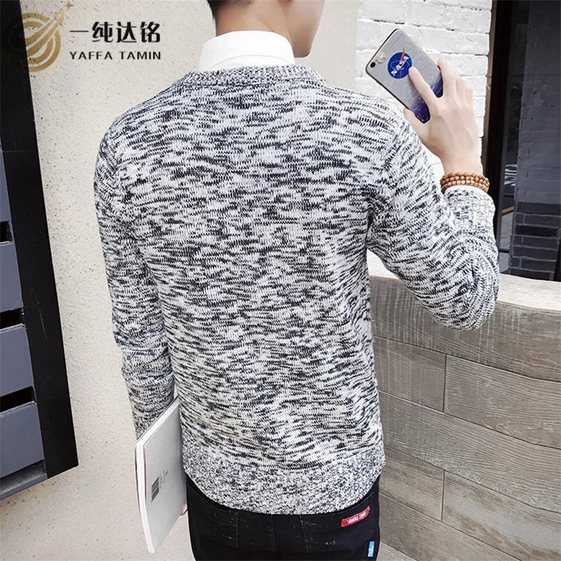 2017 Men'S Sweaters Fashion Print Sweater Men Leisure Slim O-Neck Long-Sleeved Solid Sweater High Quality Male Clothes XXL