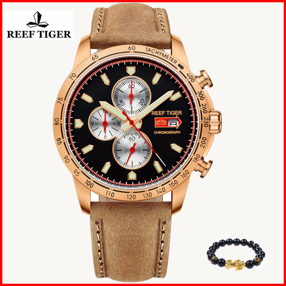Reef Tiger RT luxury brand Sport Watch Men Chronograph Quartz Luminous Watch Italian Calfskin Leather reloj