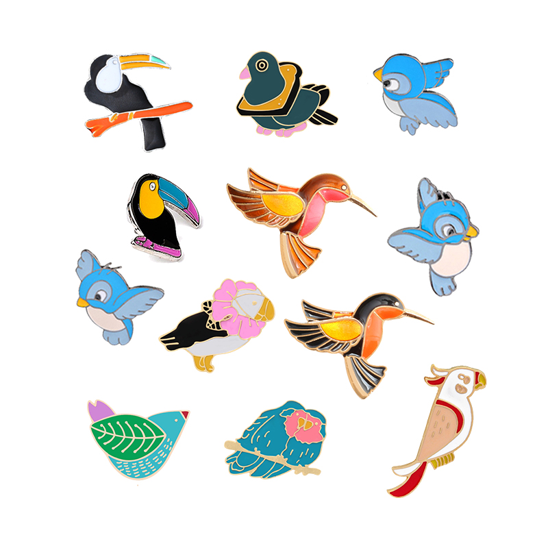 9bf467148e4 Detail Feedback Questions about 12 Style Cartoon Enamel Pins Birds Brooch  Women Denim Jackets Sweater Collar Pin Badge Corsage Men Brooches Jewelry  Holiday ...