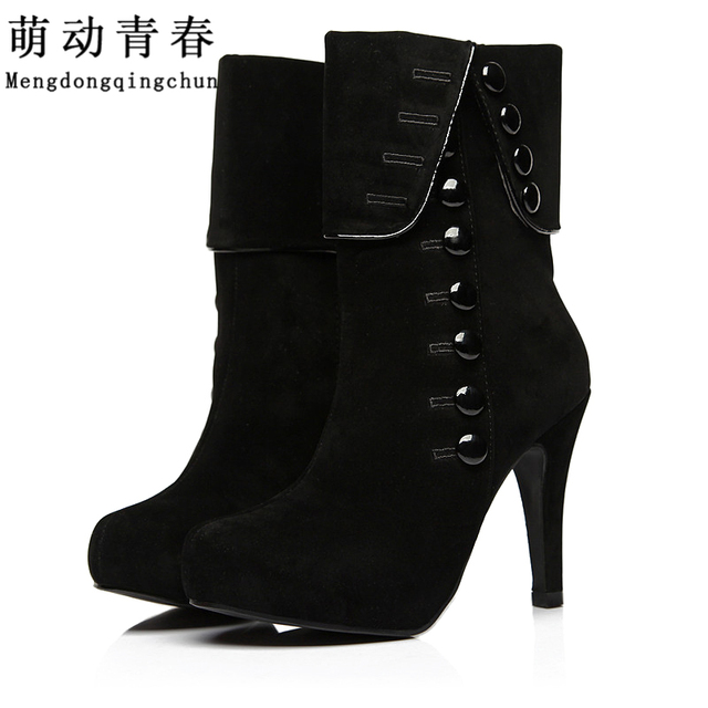Women Ankle Boots Heels 2016 Autumn Winter Botas Red High Heel Shoes Platform Suede Woman Boots Female Shoes Bota Feminina
