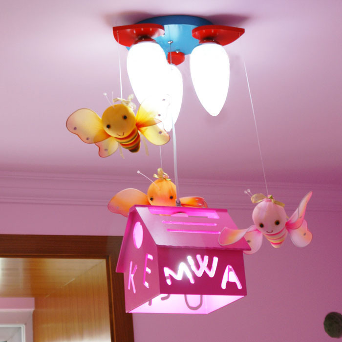 US $135.0 |Remote control pink pendant light lamps child bedroom lights  child lamp child lamps cartoon pendant light ET4218-in Pendant Lights from  ...