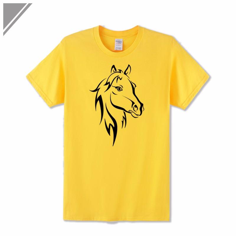 KOLVONANIG 2018 Fashion T Shirt Men Short Sleeve O-neck Cotton Hip Hop Mens Tee Shirts Animal Horse Printed T-Shirts Tshirts Top 10