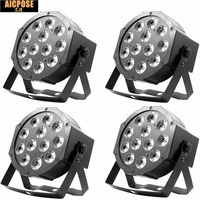 4pcs/lots 12w led lamp beads 12x12W led Par lights RGBW 4in1 flat par led dmx512 disco lights professional stage dj equipment
