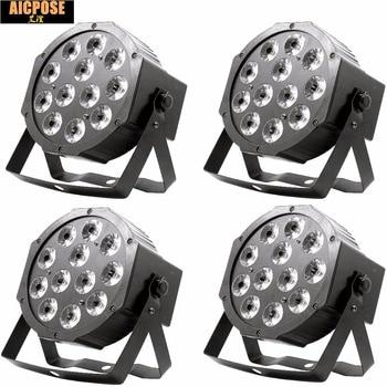 4pcs/lots 12w led lamp beads 12x12W led Par lights RGBW 4in1 flat par led dmx512 disco lights professional stage dj equipment