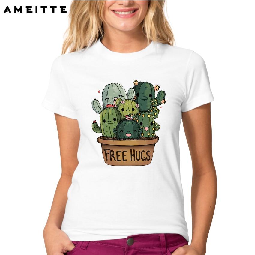 8f164192 Fashion Cuddly Cactus T-Shirt Women/Ladies Cartoon Design Custom T Shirts  Summer Casual Streetwear Short Sleeve Tops Tee lc3020