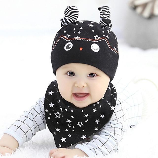 8299aee89dd New Lovely Child Baby Boys Girls Sleep Hat Cap+Saliva Towel Triangle Head  Scarf Set