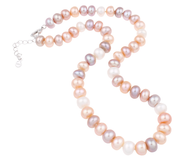 Beautiful Wedding Bridal Jewelry Natural Real Freshwater Pearl Necklace Button Pink White Purple 10 11mm Pearl Beaded Necklace