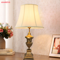 America Country Classical Table Lamp Copper Resin Fabric LED E27 Table Lamp For Study Living Room Bedroom Reading