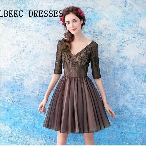 Half Sleeves Black Short Homecoming Dressknee Length