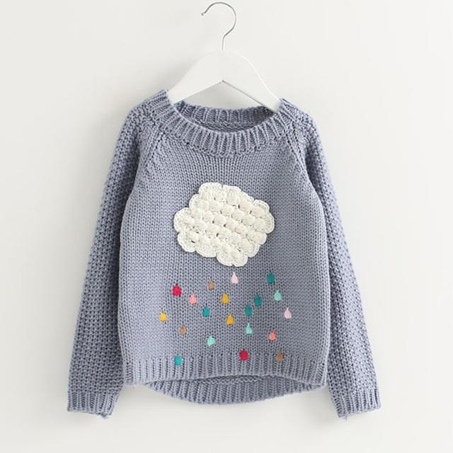 2017 nuevos bebés del invierno suéter de nubes de dibujos animados para niños ropa para niños suéter caliente para las niñas de punto