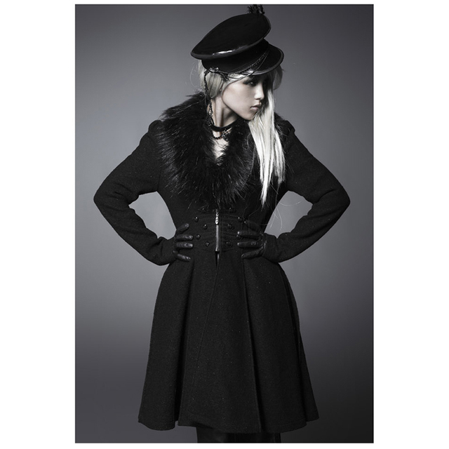 Steampunk Gothic Winter Coat Thickening Heavy Hair Get Long Knee Length Woman Woolen Coat Long