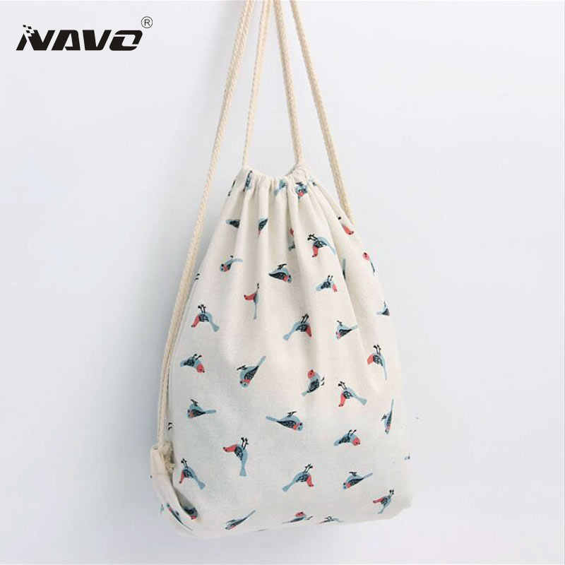 Bird Pattern Printing Drawstring Backpack Cute Fabric Shopping Tote Cotton Linen Draw String Bags Back Bag Women Backpack Style Pattern Backpackstyle Backpack Aliexpress