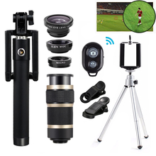 On sale Mobile Telescopic lens Fisheye Wide Angle Macro Lentes Telescope 8X Zoom Telephoto Lenses For iPhone 8 7 6 5 s Plus Smartphone