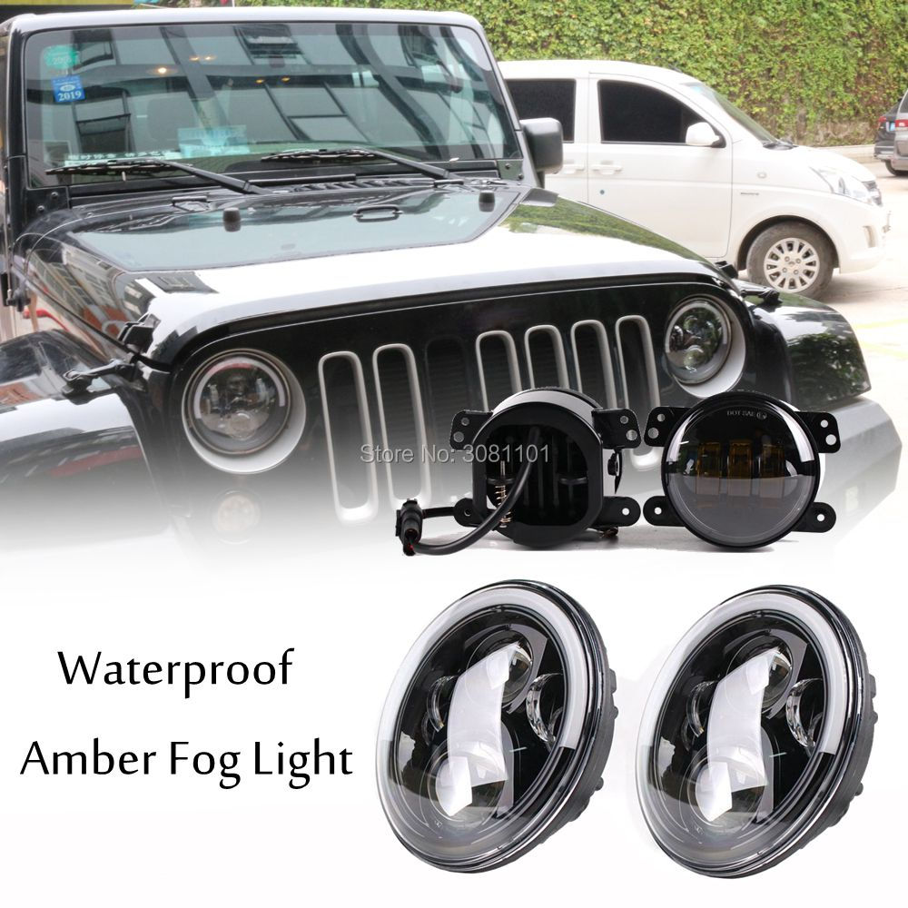 7 inch Projector LED Headlight with Daytime Running Light Plus 4