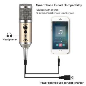 Image 5 - GEVO MK F500TL microfono pc profesional 3,5mm jack con cable USB condensador micrófono Karaoke para teléfono portátil para la radiodifusión de grabación de música para estudio con clip de soporte mic