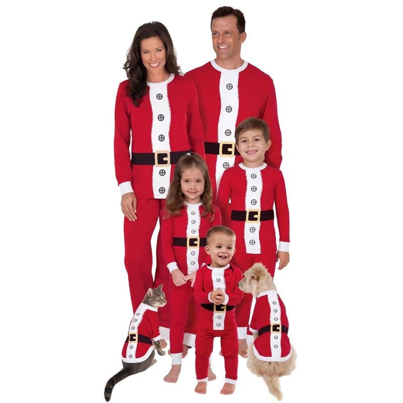 Christmas Family Pajamas Set Santa Adult Kids Women Sleepwear Nightwear Cosplay 2016 long sleeve home wear long sleeve santa print christmas mini swing dress