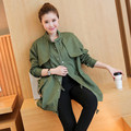 New Arrival 2016 Autumn Women Long Trench Coat Casual Loose Stand Collar Single Breasted Outerwear Wide Waist Solid Outwear